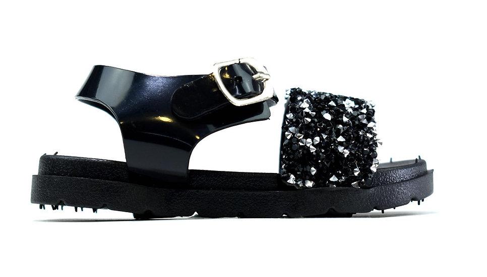 Infant's Open Toe Sparkle Jelly Sandals Black