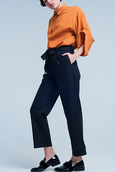 Black Wide Pants With Bow Tie