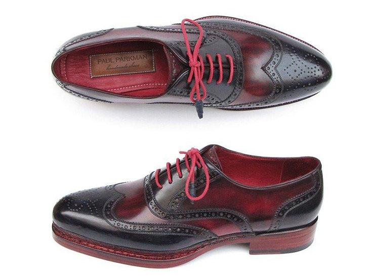 Paul Parkman Men's Triple Leather Sole Wingtip Brogues Navy & Red Shoes