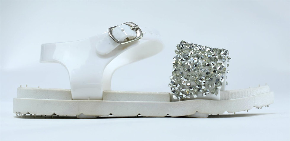 Infant's Open Toe Sparkle Jelly Sandals White