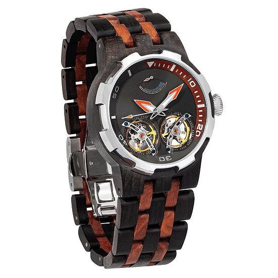 Men's Dual Wheel Automatic Ebony & Rosewood Watch -  High End Watch