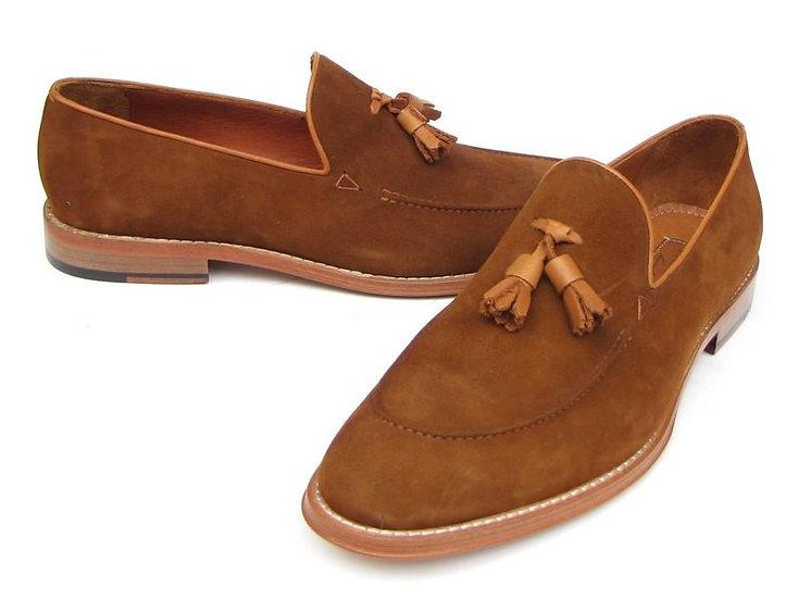 Paul Parkman Handmade Men's Tassel Loafer Tobacco Suede Shoes