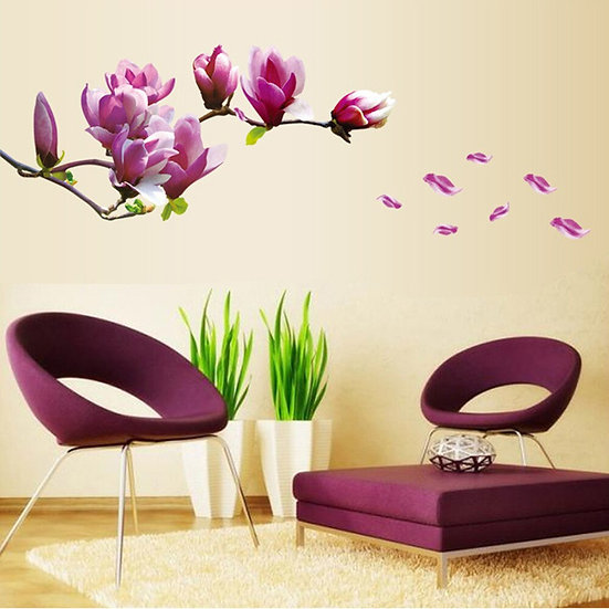 Removable Magnolia Flower Wall Sticker