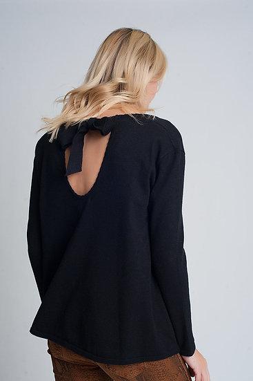 Black Long Sleeved Tie-Back V Neck Jumper