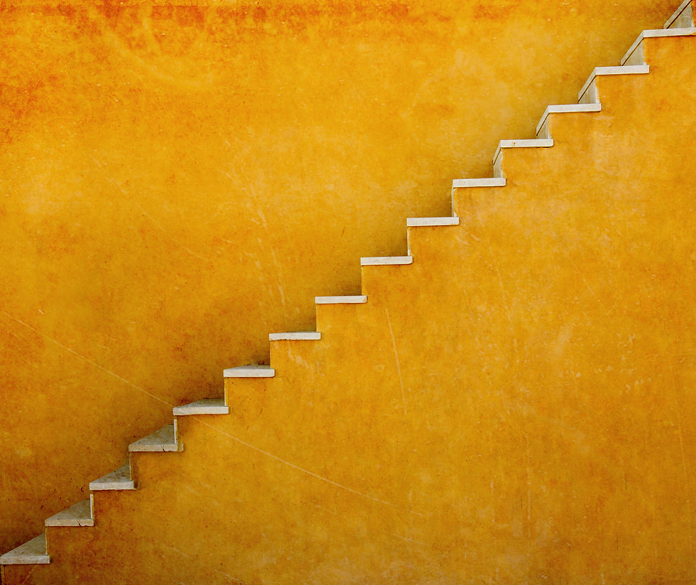 Yellow wall with stairs texture background, minimalistic style for base image for posters,