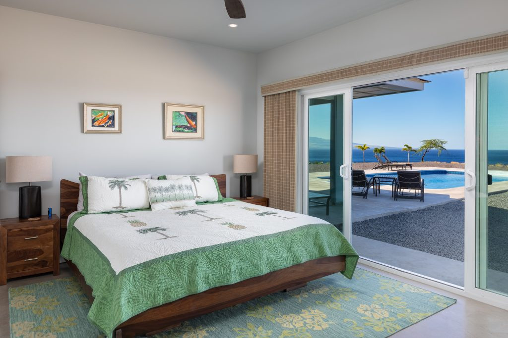 North Master Bedroom with attached bathroom, ocean views and pool access