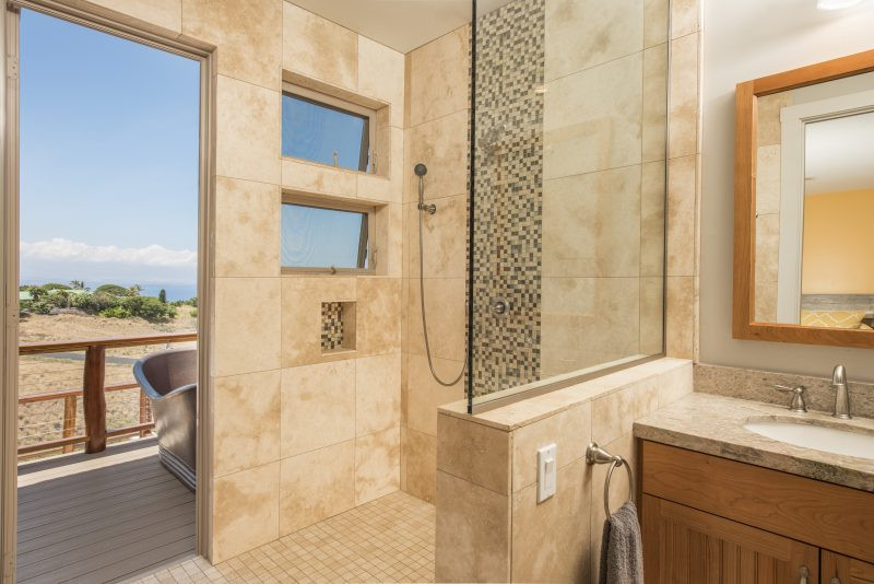 Indoor shower and outdoor copper tub