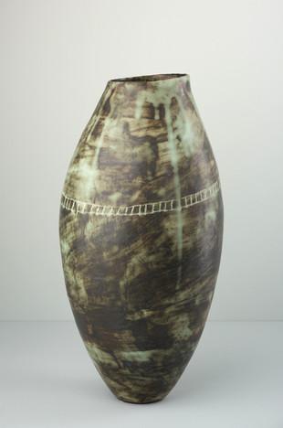 Tall Copper Green Vessel