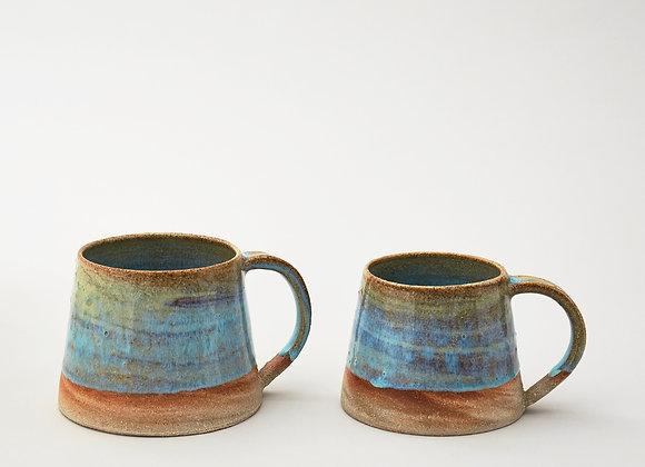 Large variegated blue/green glazed mug