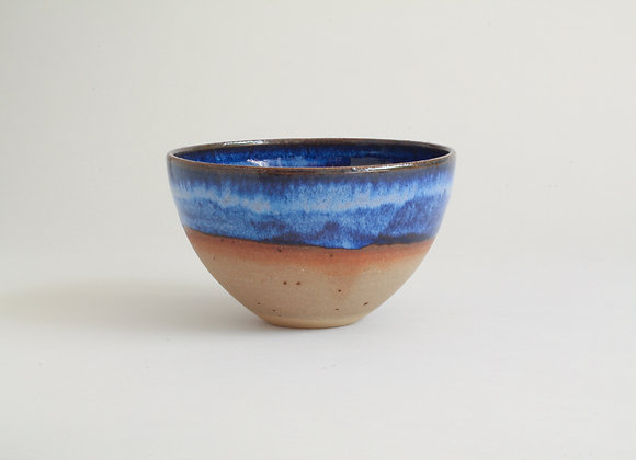 Half-dipped blue glazed bowl