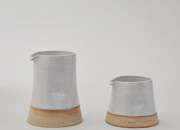 Large white glazed jug