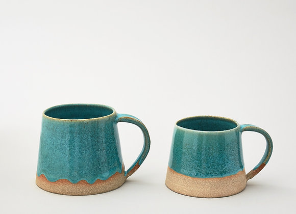 Large green glazed mug