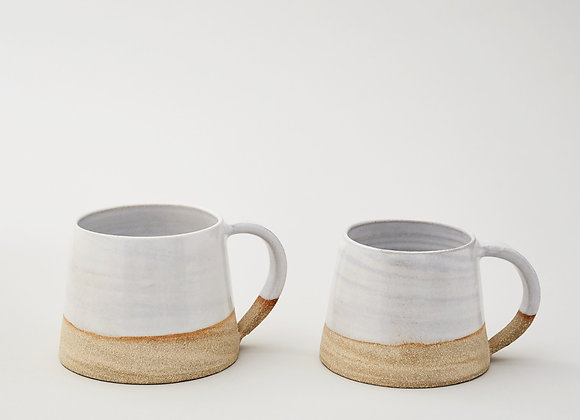 Large white glazed mug