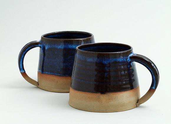 Large blue glazed mug