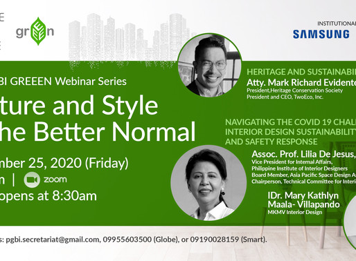 4th PGBI GREEEN WEBINAR SERIES: CULTURE AND STYLE IN THE BETTER NORMAL, SEPTEMBER 25, 2020