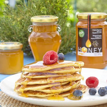 Pancakes à l'huile d'olive et au miel de thym