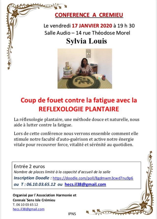 Conférence Réflexologie Sylvia Louis, Crémieu