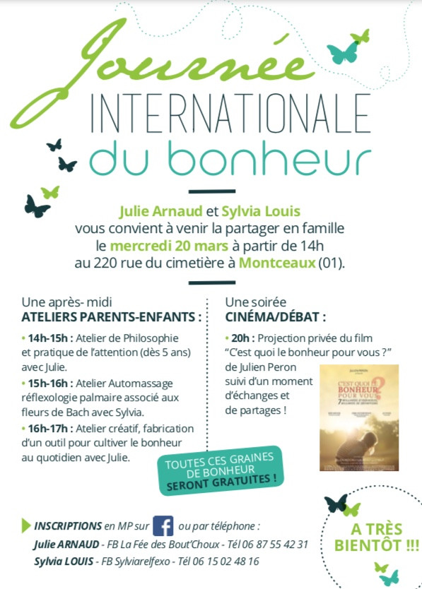 Journée internationale du Bonheur 20 mars 2019