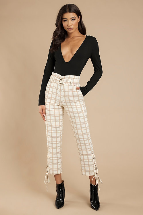 J.O.A. Belted Lace Up Pants