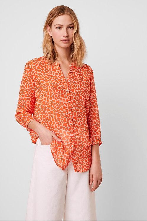 Etta Kiss Print Collarless Shirt