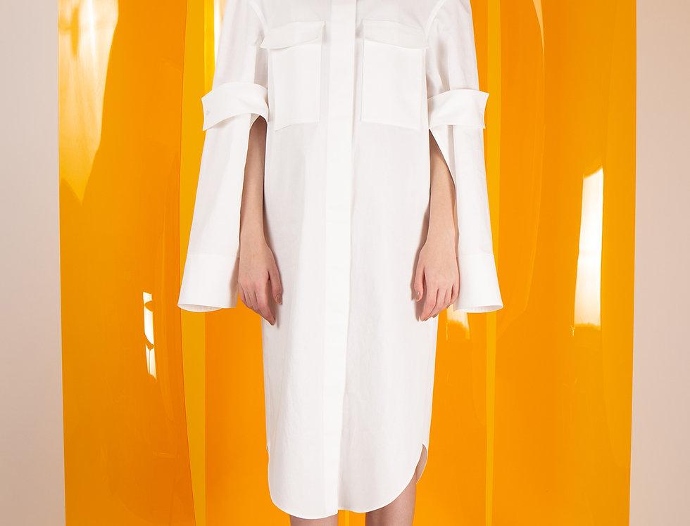 Open Sleeve Flap Pocket Shirt Dress オープンスリーブフラップポケットシャツドレス