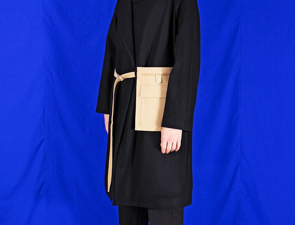 CAHIMERE-WOOL COAT WITH ARTISTS'  BELT BAG アーティストベルトバッグカシミアウールコート【受注予約】