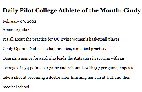 Athlete of the Month, Daily Pilot