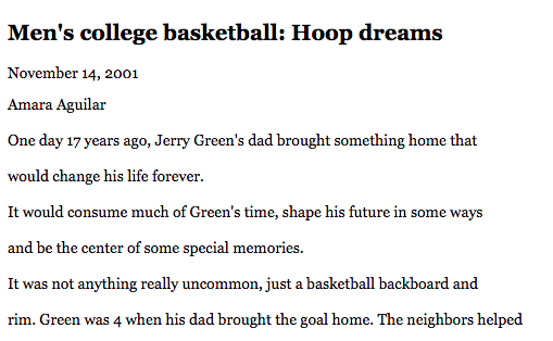 Hoop Dreams, Daily Pilot