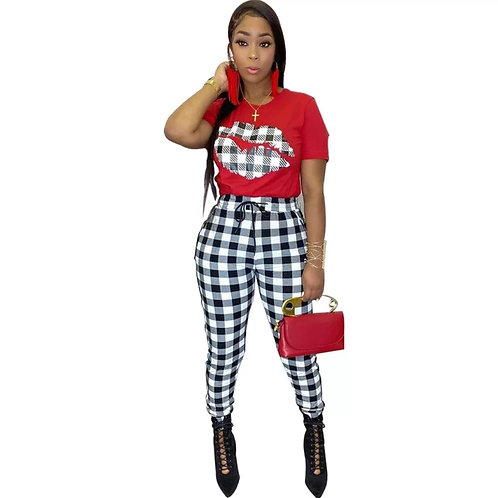 Red & Black Checkered Two Piece Outfit