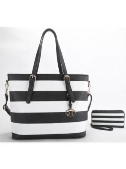 Black and White Stripe Handbag
