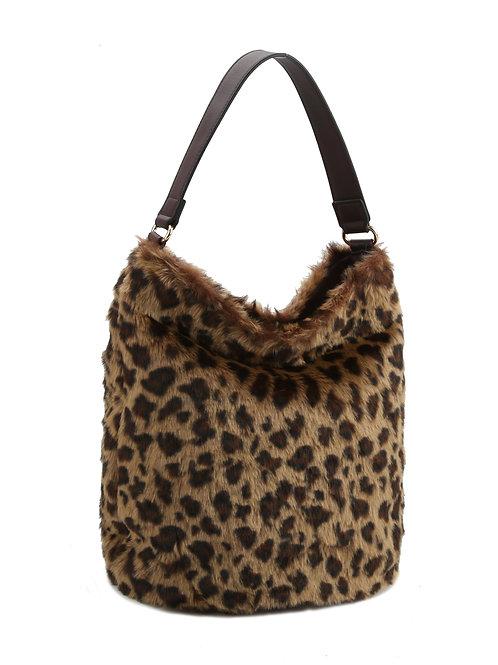 Fur Leopard Print Handbag