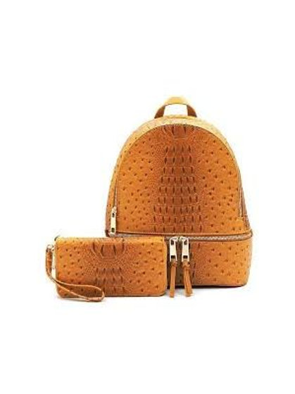Mustard Ostrich Backpack