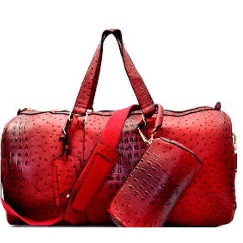 Burgundy Ostrich Duffle Bag