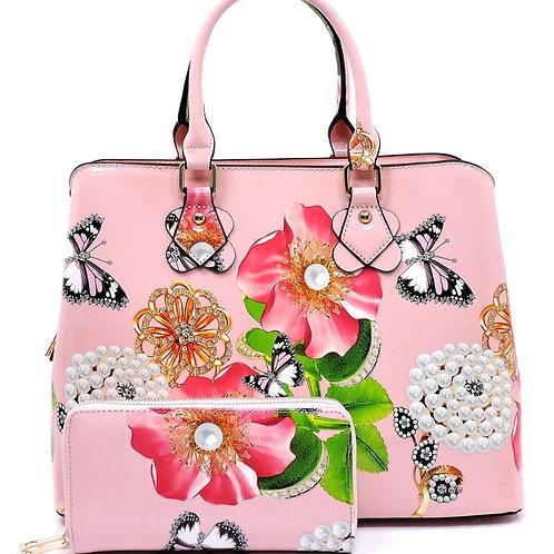Patent Leather Flower 3 in 1 Handbag (Pink)