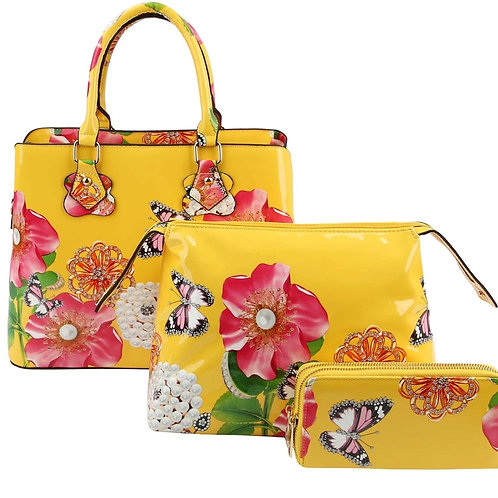 Patent Leather Flower 3 in1 Handbag (Yellow)