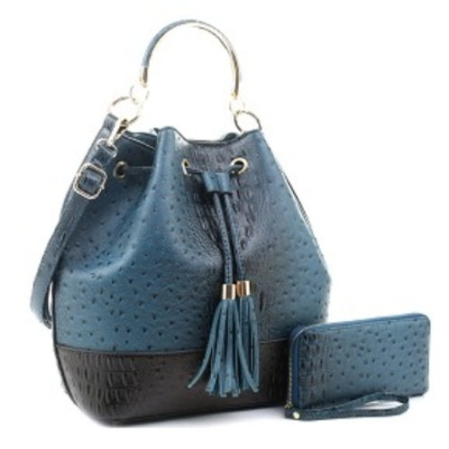 Blue LeMiel Drawstring Handbag