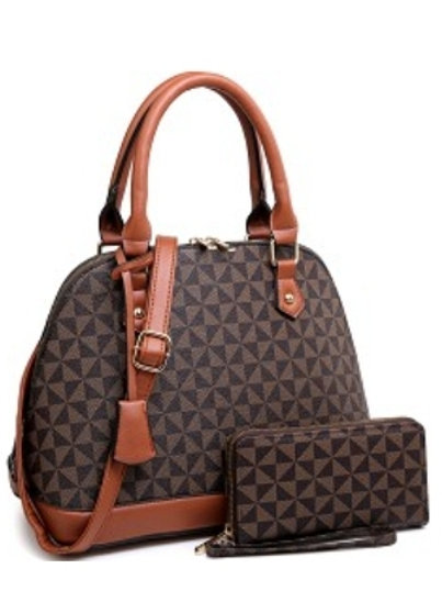 Checkered Handbag with wallet