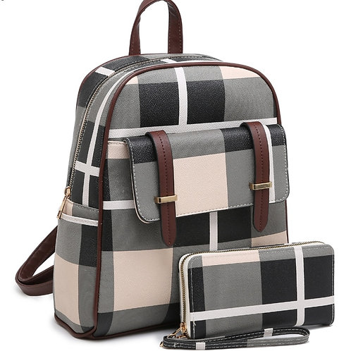 Plaid Backpack Purse