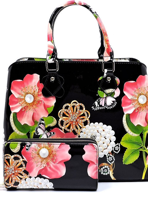 Patent Leather Flower Handbag 3 in 1 (Black)