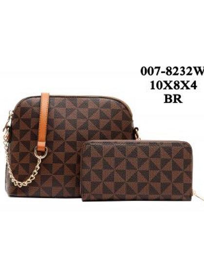 Brown Checkered Handbag