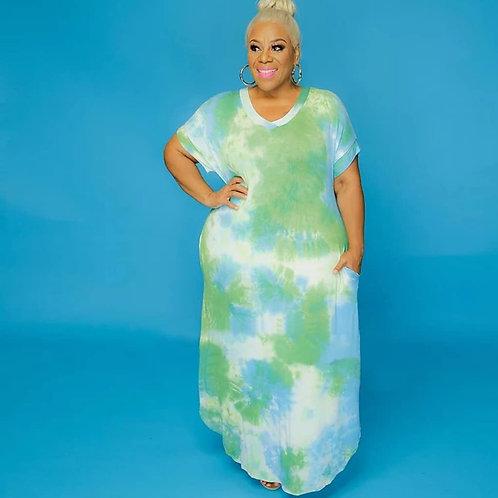Tye Dye Dress 2xl (green)