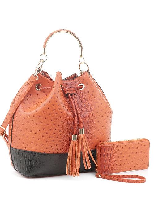 Orange LeMiel Drawstring Handbag