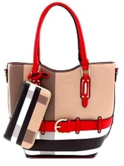 Plaid Buckle Handbag