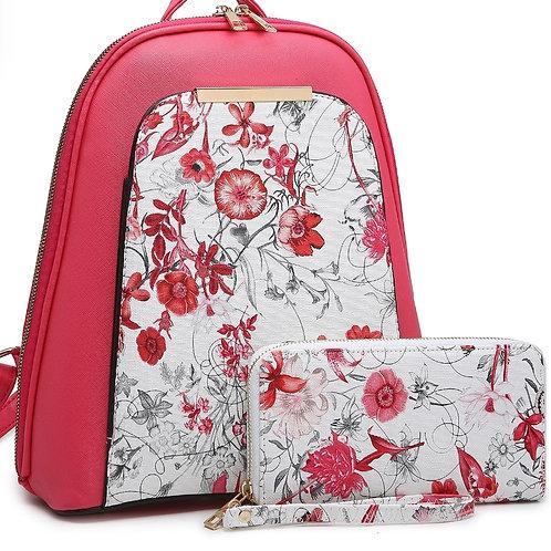 Hot Pink Floral Backpack