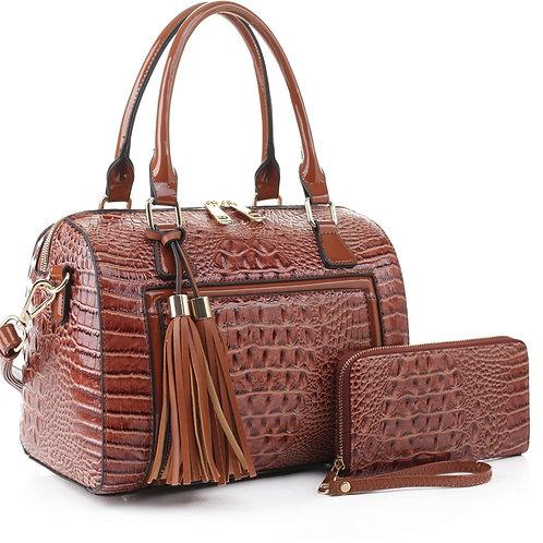 Alyssa Patent Leather Handbag (Brown)