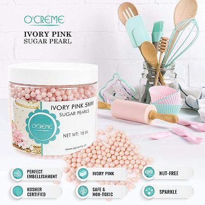Ivory Pink Sugar Pearls Decoration Balls, 5mm