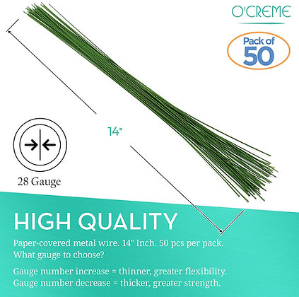 O'Creme Green Floral Wire, 50 Pieces