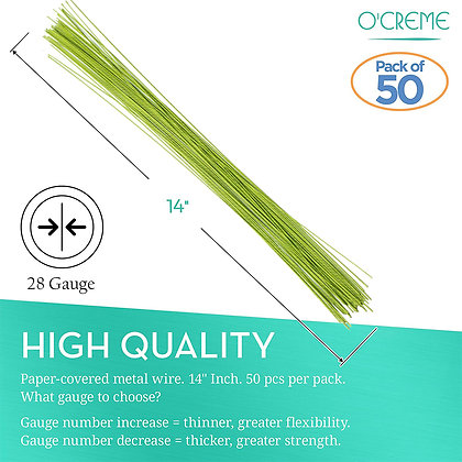 O'Creme Light Green Floral Wire, 50 Pieces