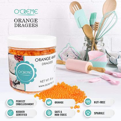 Orange Edible Sugar Pearls Decoration Balls 4mm