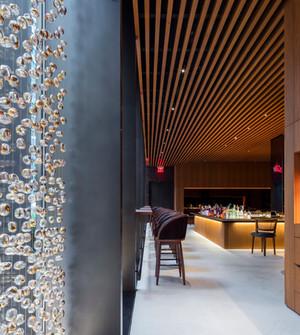 Custom fabrication glass bead curtain Four Seasons restaurant interiors